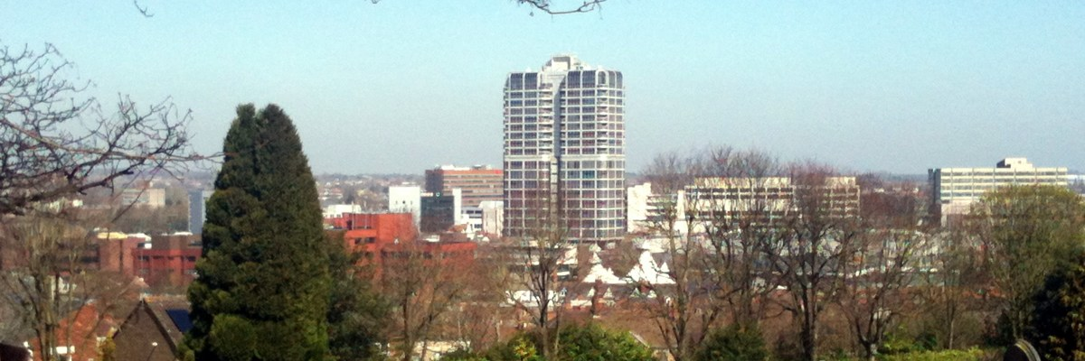 Swindon Town Centre, taken from Radnor Street Cemetary