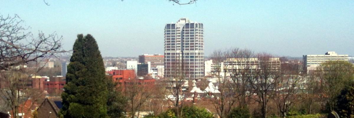 Swindon Town Centre, taken from Radnor Street Cemetary