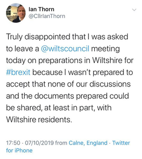 Ian Thorn - Removed from Wiltshire Council Meeting Tweet (Ian Thorn, Liberal Democrats)